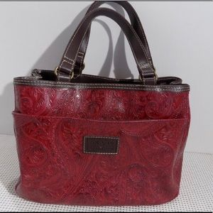 Stamped Paisley Pattern Red Relic Purse